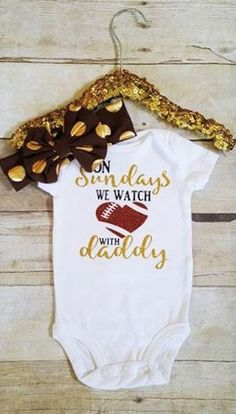 19518774539 On Sundays we watch football with daddy/football baby clothes/1st football  season with daddy/dallas cowboys baby clothes/green bay packers