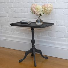 Vintage wine table in Annie Sloan's 'Graphite', distressed and waxed. Available from Charlotte Jones Interiors. Contact us: sales@charlottejonesinteriors.com