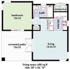 One Bed. One Bath 600 sq. ft. | Apartment | Pinterest | Bath, Tiny ...