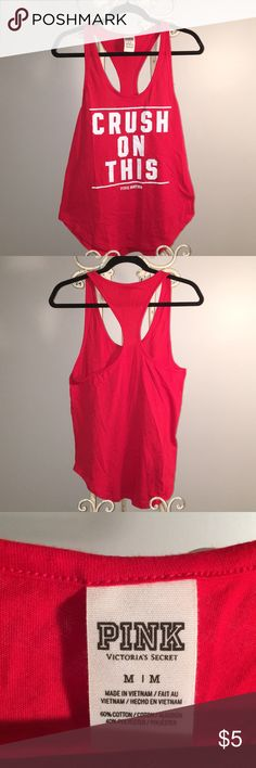 PINK Tank PINK red tank with razor back. Adorable to pair with a bralette to wear out or perfect for the gym! In great condition! PINK Tops Tank Tops