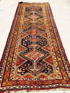 Hard to find Antique Persian Luri Runner with date woven in, good condition. Produced in very small numbers, Luri are among the scarcest of the antique South Persian tribal rugs. Rugs in this nomadic