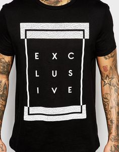 ASOS Longline T-Shirt With Typographic Print In Crackle Effect at asos.com