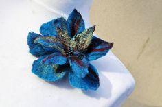 Felt flower brooch flower turquoise brown by AleksandrabWiniarska