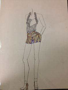 Embroidered Shorts Inspired by VanGogh With Detailed Top  Fashion Design by Tiffany Rose Monahan