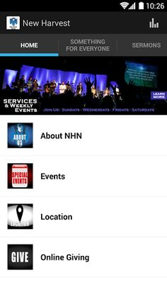 Welcome to the official New Harvest Church application. <br>Check out our content on your Android.<p>With the New Harvest Church app you'll always be only a tap away from the New Harvest Church media library and blog. You can view sermons by series and featured topics easily accessible in audio and mobile optimized video formats. Then share sermons you watch with friends via email too. <p>The God-given vision of New Harvest is to reach the world for Jesus Christ. All of our programs and…