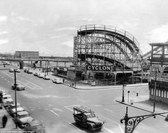 Good old days: A photo from the late 1950s showing Dreamland Park and the Coney Island Cyclone roller coaster