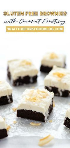 If you're looking for the perfect dessert, look no further! These fudgy chocolate packed brownies are sure to be your favorite thing. Sweet and comforting chocolate with a light and airy coconut frosting, all gluten free! This recipe is perfect for the coconut loving sweet tooth in your family. They're so easy to make you'll have about as much fun making them as you do eating them. Coconut Frosting, Coconut Desserts, Coconut Recipes, Desserts To Make, Healthy Dessert Recipes, Coconut Truffles, Brownie Frosting, Chocolate Frosting, Coconut Flour