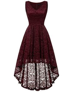 Bridesmay Women Vintage High Low Sleeveless Floral Lace Cocktail Party Swing Dress Burgundy 3XL *** Check out the image by visiting the link. (This is an affiliate link) Quinceanera Dresses, Homecoming Dresses, Banquet Dresses, Formal Dresses, Casual Dresses For Women, Cute Dresses, Swing Dress, Floral Lace, Vintage Ladies