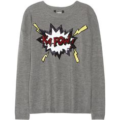 Markus Lupfer Kapow! sequined merino wool sweater (8,090 MXN) ❤ liked on Polyvore featuring tops, sweaters, shirts, jumpers, grey sweater, multi colored sweater, shirt sweater, grey shirt and multi color sweater