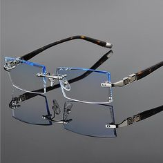 Buy Men's Metal Eyeglass Frames Rimless Cutting Lenes with Diamond 3 Color Blue Grey Brown at Wish - Shopping Made Fun Glasses Frames Trendy, Cartier, Best Eyeglasses, Eyeglass Frames For Men, Perfume, Sunglass Frames, Color Blue, Blue Grey, Titanium Glasses