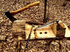 How to Build a Carving Bench from a Log - TheSurvivalSherpa.com
