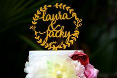 Wedding Cake Topper Monogram Mr and Mrs cake Topper Design Personalized with First Names 083