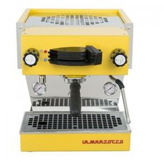 Inspired by the Linea Classic, the Linea Mini comes with dual boilers and an integrated brew group that allows the machine to achieve the temperature stability and energy efficiency of the saturated brew group in a reduced footprint. Mini, Coffee Maker, Yellow, Kitchen, Shop, Products, Gastronomia, Canteen, Coffee Maker Machine