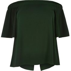 River Island RI Plus green bardot top ($50) ❤ liked on Polyvore featuring tops, bardot / cold shoulder tops, green, women, flounce top, cut out shoulder top, short sleeve tops, women's plus size tops and open shoulder top