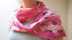 Nuno felted pink infinity circle loop shawl wrap scarf, silk, wool, geometric, ooak on Etsy, $35.00