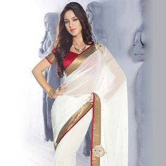 Off White Faux Chiffon Saree with Blouse Online Shopping: SBJ1182C