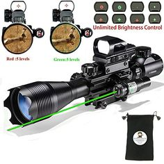 Hunting AR15 Tactical Rifle Scope Combo C4-16x50EG with G...