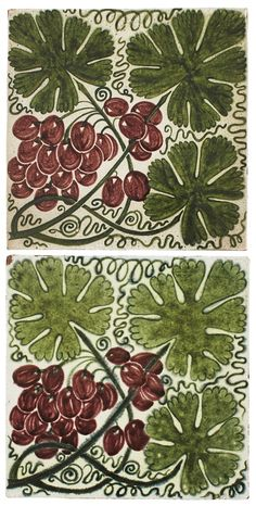 WILLIAM DE MORGAN (1839-1917)  TWO 'VINE' PATTERN TILES, NO. 747, 1880S/1890S  each with impressed marks, and one stamped 2 (2)  20.5cm square Aesthetic Movement, Tile Patterns, Vines, Auction, Lovers, Kids Rugs, Stamp, Nature, Art