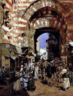 The Gates of the Khalif 1887 By William Logsdail (British, 1859-1944)  Oil on canvas ,111 x 81 cm باب زويلة أو بوابة المتولي
