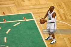 Ray Allen #20 of the Boston Celtics shoots a free throw while taking on the Los Angeles Lakers in Game Six of the 2008 NBA Finals on June 17, 2008 at TD Banknorth Garden in Boston, Massachusetts.