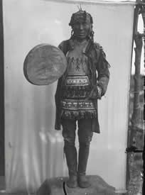 Tungus shaman of Russia. The drum is the exclusive property and source of individual power for a shaman. Without it, he cannot perform his duties nor contact the spirit world.