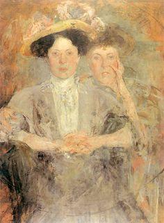 Olga Boznańska / Portret dwóch młodych dam / olej na tekturze / 1898 / Muzeum Narodowe Kraków