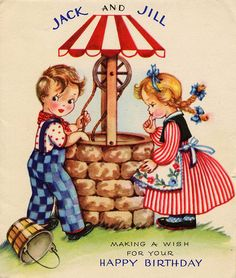 Jack and Jill --> front cover, uses the title and the main image from the nursery rhyme, use of drawn illustration and detail