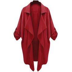 Long Sleeve Solid Color Trench Coat (39 CAD) ❤ liked on Polyvore featuring outerwear, coats, red trenchcoat, red trench coats, red coat, trench coats and long sleeve coat