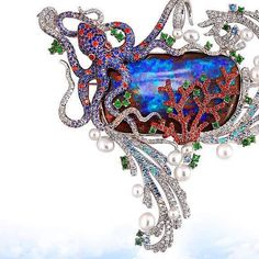 Alessio Boschi Australian Boulder Opal Coral Reef brooch/ pendant with coral and octopus