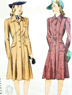 1940s Princess Coat Pattern Simplicity 3994 Figure Flattering Tailored princess Line Coat Two Collar Styles Bust 34 Vintage Sewing Pattern