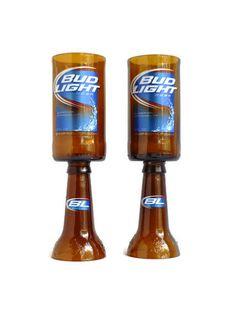 Beer Bottle Wine Glasses Bud Light Goblets Candle Holders Set Of 2