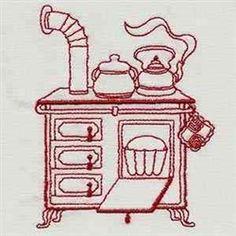 Vintage Kitchen Stove Redwork embroidery design
