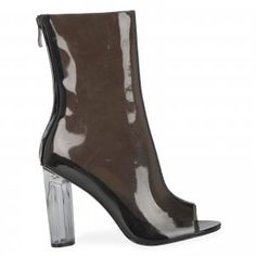 Selena Perspex Black Ankle Boot