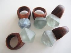 [ Fluorite & Blackwood Ring - Nga Waiata ] .. concept for the tree rings I'm going to have my Friend make me one day. Different stones though, if any.