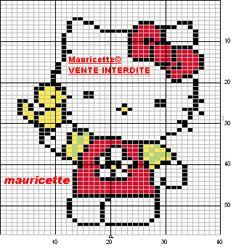 Free Hello Kitty with Bird Cross Stitch Chart or Hama Perler Bead Pattern