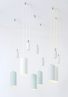 Inspired by the shipyards of Rotterdam, this lamp is adjustable in height with a pulley system.  - Studio WM.