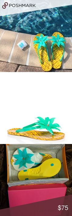 "New Kate Spade green Flynn Sandals Celebrate island time all the time in these tropically-inspired thongs by Kate Spade New York; with a pineapple-printed sole and comfortable leafy strap they're both playful and practical, perfect for the boardwalk and the beach.  DETAILS  MATERIAL  green coated rubber with rubber heel  FEATURES  0.4"" heel  pineapple leaf embellishment  pineapple printed sole  style # s030024ru  Womens Size 5  Flip Flop, Sandals, rounded toe, sold out, kate spade Shoes…"