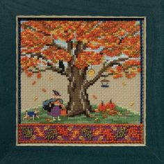 Name: Fall Oak Company: Mill Hill Type: Quartet Grouping: Mighty Oak Kit Includes: Beads, Natural Brown Aida floss, needles, chart and instructions. Mill Hill frame sold separately Size: X Beaded Cross Stitch, Cross Stitch Kits, Cross Stitch Embroidery, Embroidery Patterns, Cross Stitch Patterns, Modern Embroidery, Mill Hill Beads, Mighty Oaks, Bead Kits