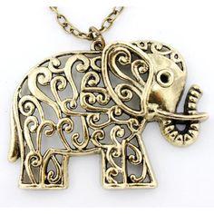 Pretty Retro Gold-tone Cute HOLLOW Baby Elephant NECKLACE