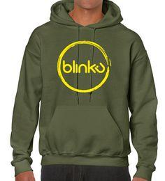 Sudadera con capucha, para hombre : Color military green, diseño Blinku 2 serigrafiado en tinta yellow