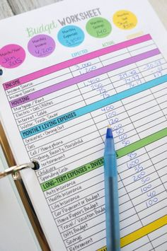 Budget Worksheet Printable