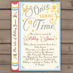 Once Upon a Time baby shower invitation Shower invite Gender neutral Fairy Tales Storybook Baby shower invitations  Digital Printable DIY by Anietillustration on Etsy https://www.etsy.com/listing/222092599/once-upon-a-time-baby-shower-invitation