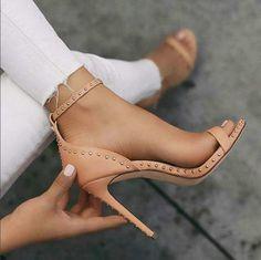 Hot Sale Black and Brown Rivet Super High Heel Sandals from Eoooh❣❣ women shoes high heels , best women high heel Super High Heels, High Shoes, Black High Heels, Women's Shoes, High Heels With Jeans, Dress Shoes, Shoes 2017, Prom Shoes, Shoes Style