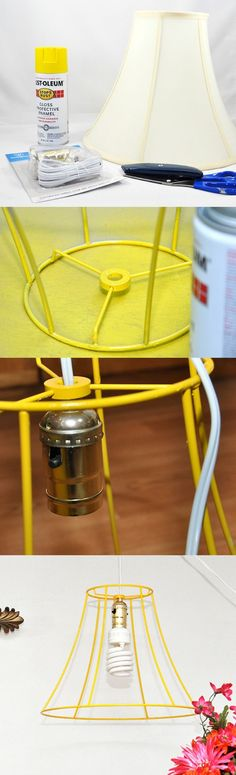 Use an old lampshade to make a bright, new, upcycled DIY lampshade! Pick your favorite spray paint color to make it yours.