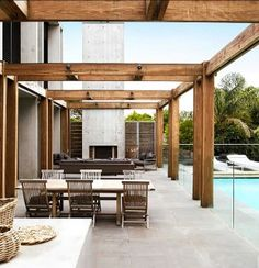 reclaimed wood pergola modern   Wood and exposed concrete 1 Story Modern Contemporary House Plans ...