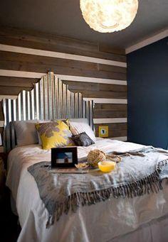 corregated metal headboard  http://jamiebrock.hubpages.com/hub/Home-Decorating-on-a-Budget-DIY-Headboard-Ideas