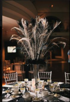 F/S: Peacock Feather Centerpieces - Black, White & Silver - Detroit, Michigan Ostrich Feather Centerpieces, Pearl Centerpiece, Candle Centerpieces, Wedding Centerpieces, Centrepieces, Gourmet Dog Treats, Healthy Dog Treats, Peaky Blinders, Anniversary Plans