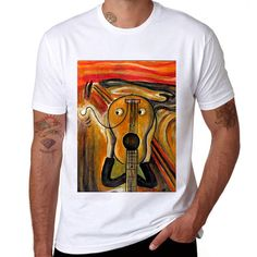 The-Scream-Funny-Printed-Tee-White-Cotton-Men-T-shirt-Short-Sleeve-Casual-Shirt
