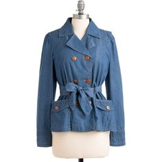 Make Your Day Trip Jacket ($26) ❤ liked on Polyvore featuring outerwear, jackets, blue, reversible jacket, double breasted jacket, button jacket, sash belt and blue double breasted jacket
