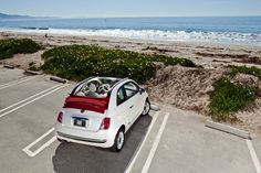 Fiat 500C at the beach